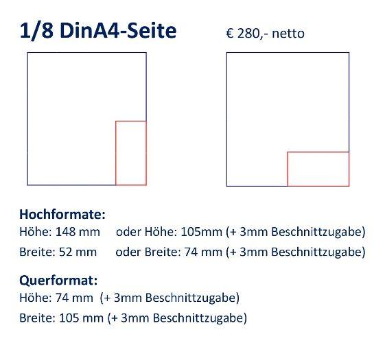Anzeige 1/8 DIN A4